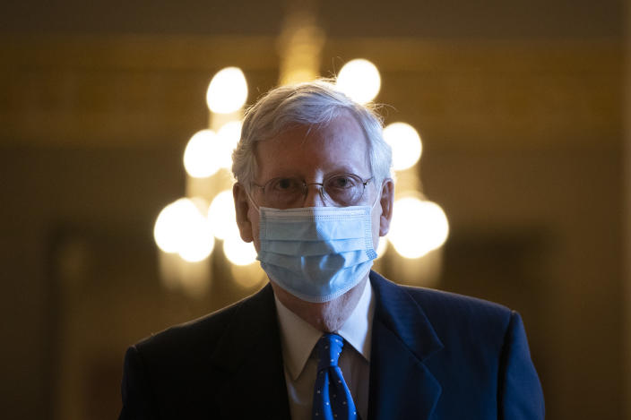 Senate Majority Leader Mitch McConnell (R-KY) leaves his office and walks to the Senate floor at the U.S. Capitol on September 23, 2020 in Washington, DC. (Drew Angerer/Getty Images)