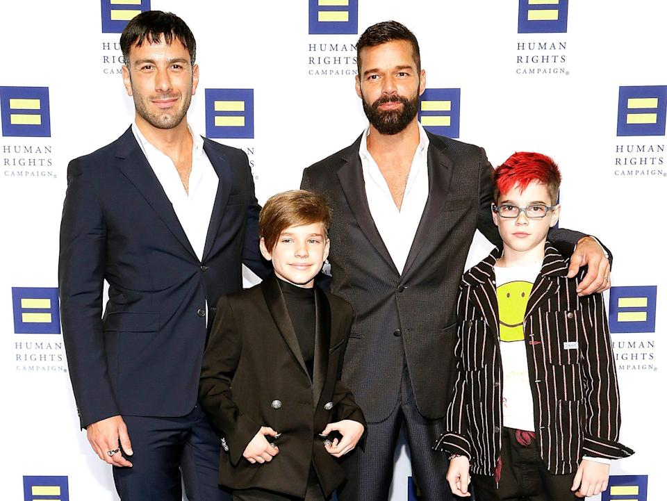 ricky martin his partner and their twin sons in 2019