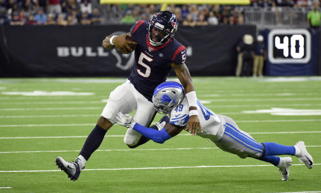 Houston Texans quarterback Joe Webb III (5) is tackled by Detroit Lions defensive back C.J. Moore (49) during the second half of an NFL preseason football game Saturday, Aug. 17, 2019, in Houston. (AP Photo/Eric Christian Smith)