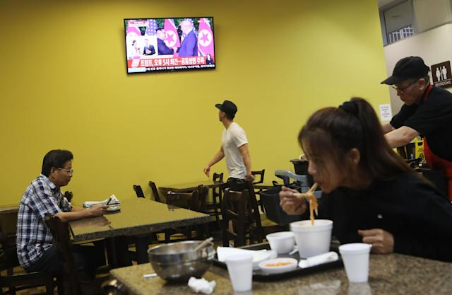 <p>The scene at a restaurant in L.A.'s Koreatown on Tuesday. (Photo: Mario Tama/Getty Images) </p>