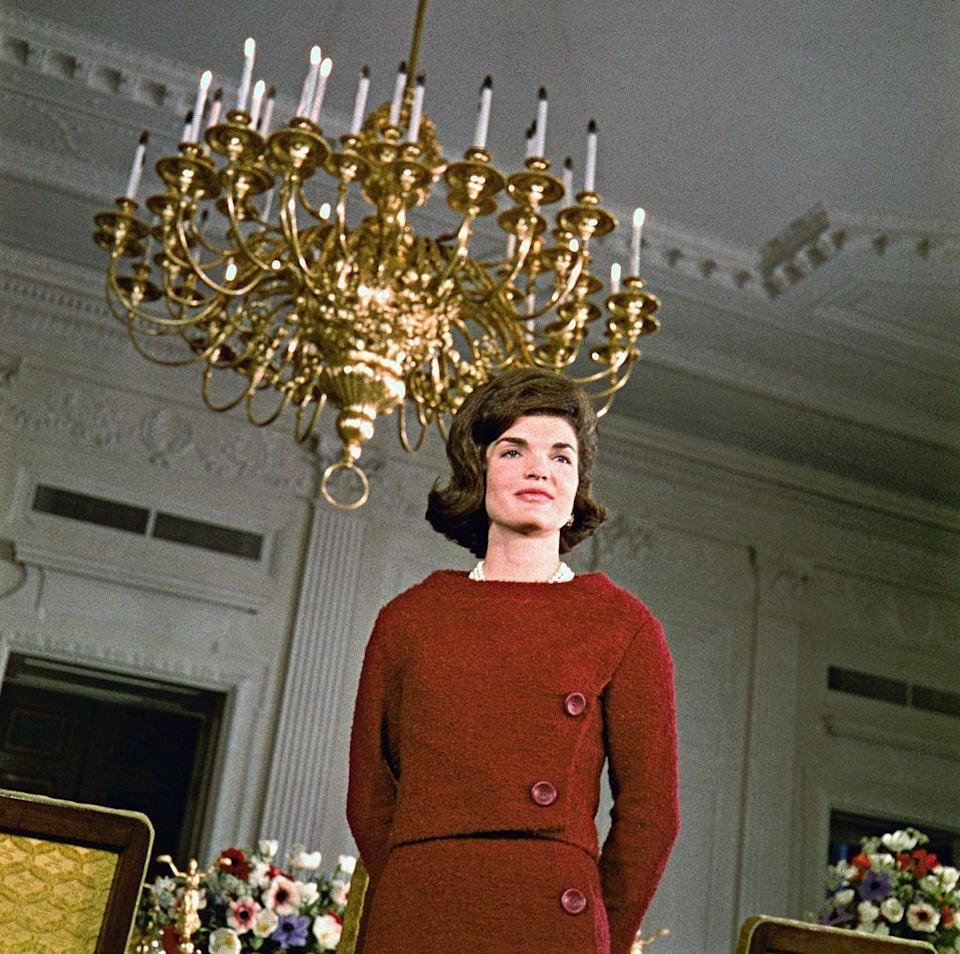 <p>First Lady Jacqueline Kennedy giving a televised tour of the White House, thought to be one of the first documentaries on prime-time television to be aimed at a female audience. </p>