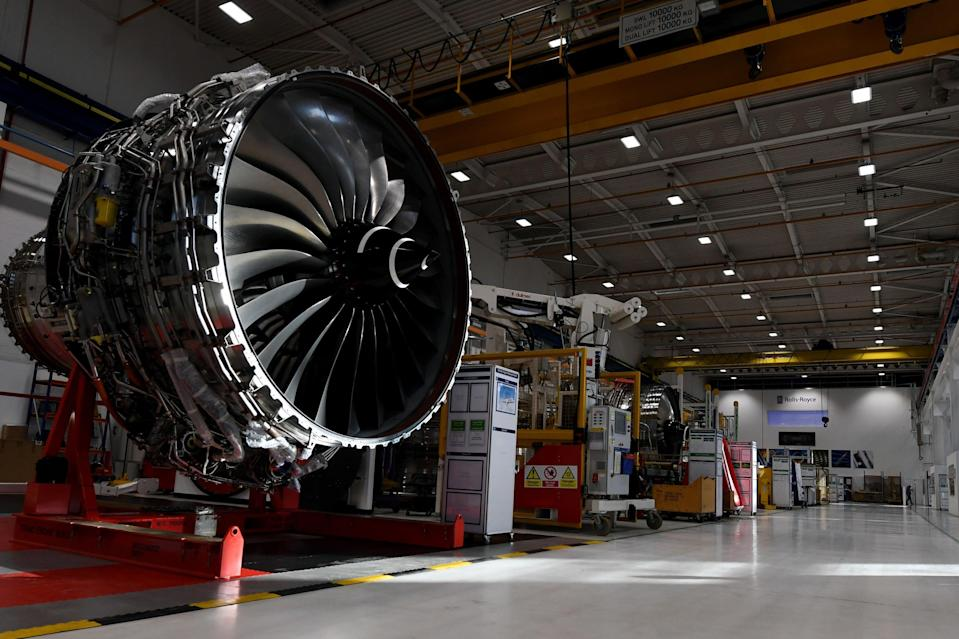 <p>The Rolls Royce XWB engine assembly line</p> (PA)