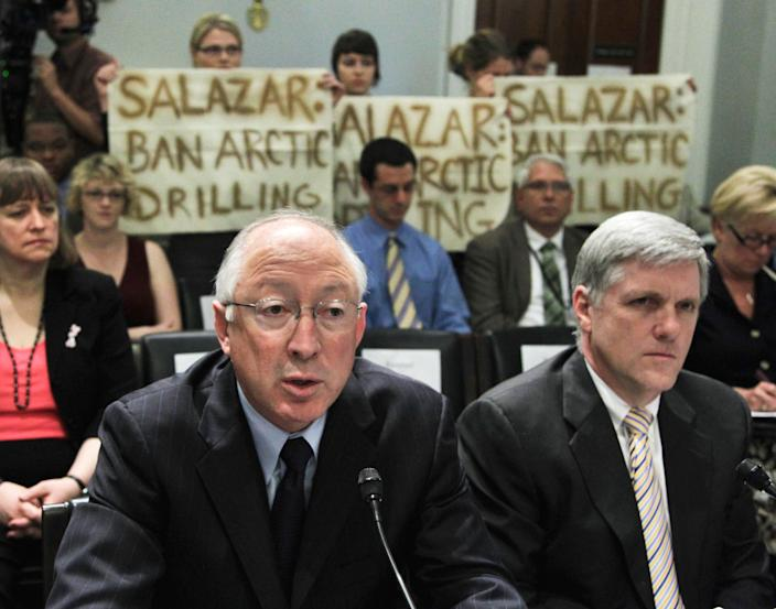 Interior Secretary Ken Salazar, left, and Deputy Interior Secretary David Hayes, testify on Capitol Hill in Washington on May 26, 2010, before the House Natural Resources Committee.