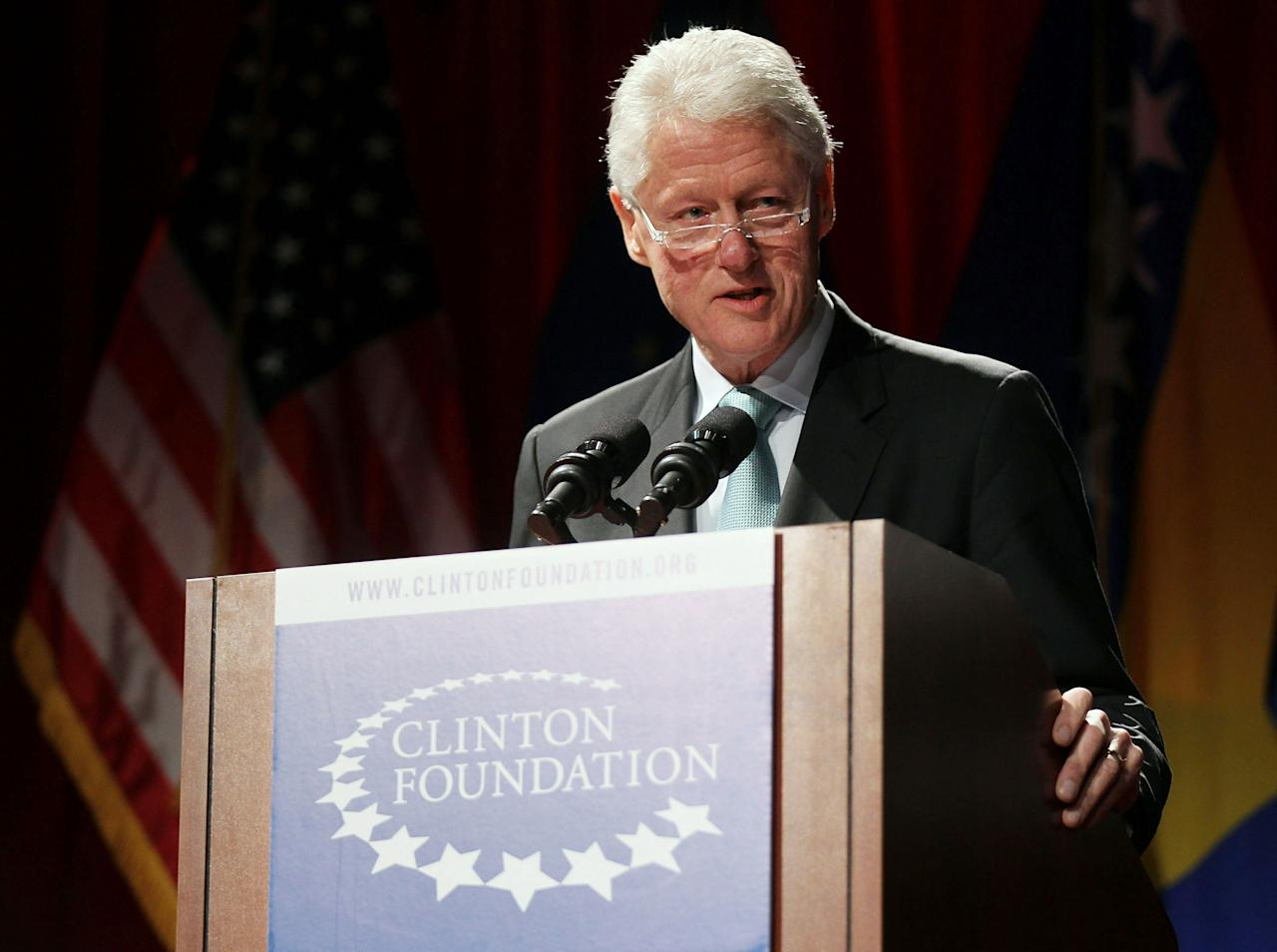 NEW YORK, NY - FEBRUARY 09:  Former U.S. President Bill Clinton speaks at a panel hosted by the Clinton Foundation to recognize the 15 year anniversary of the Dayton accords February 9, 2011 in New York City. Hosted by President Clinton, the afternoon panel discussed the making of the accords and the ramifications they had on current history. The Dayton accords brought to an end the war in Bosnia and Herzegovina which claimed an estimated 100,000 lives.  (Photo by Spencer Platt/Getty Images)