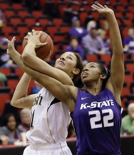 Notre Dame's Natalie Achonwa, left, shoots against Kansas State's Mariah White during the first half of an NCAA college basketball game, Thursday, Dec. 20, 2012, in Las Vegas. (AP Photo/Julie Jacobson)