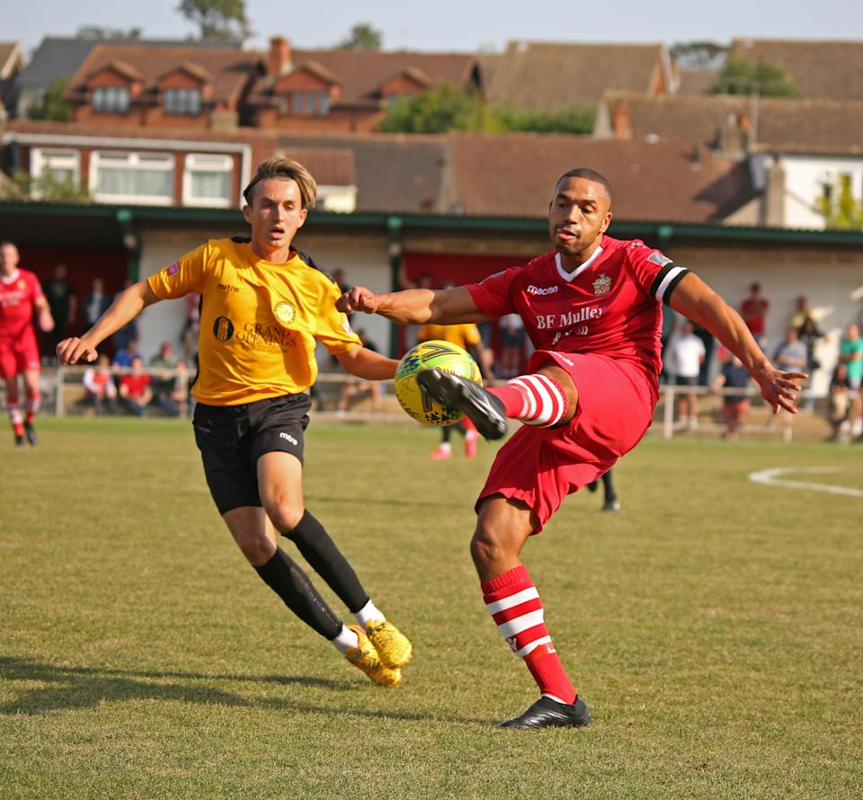Lewwis Spence in action against Merstham on the opening day of the Pitching In Isthmian League season