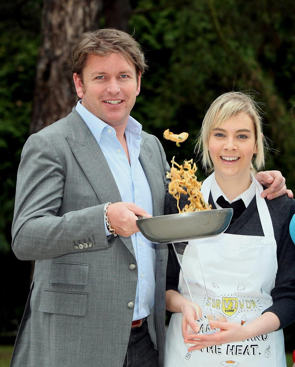 Celebrity chef James Martin, with Joanne Hamill from Dunclug college, Ballymena, after he hosted the live final of the Food Standards Agency NI 'Sixth Form Survivor Challenge'.