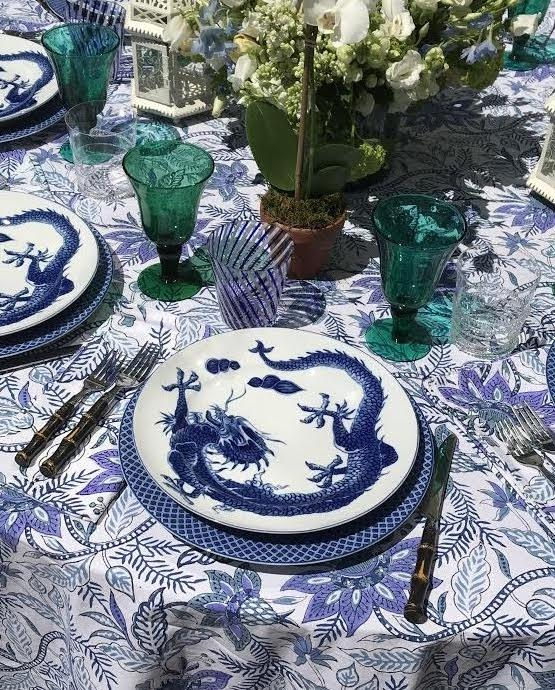 The Aegean Chintz Tablecloth is Amory's favorite.