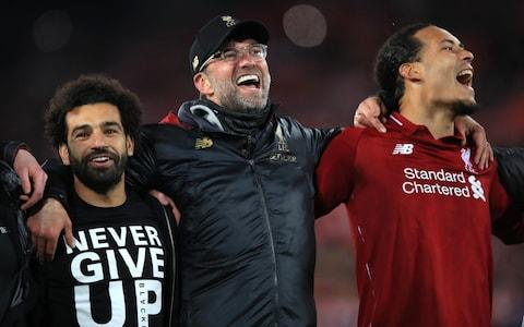 The happiest of singsongs for the victorious Liverpool side back in May. - Credit: PA