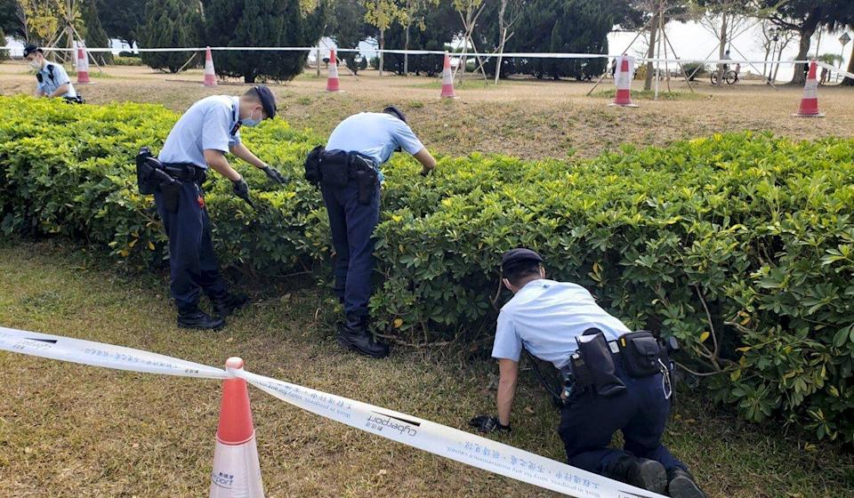 Police search Cyberport Waterfront Park after six dogs died from suspected poisoning. Photo: Facebook