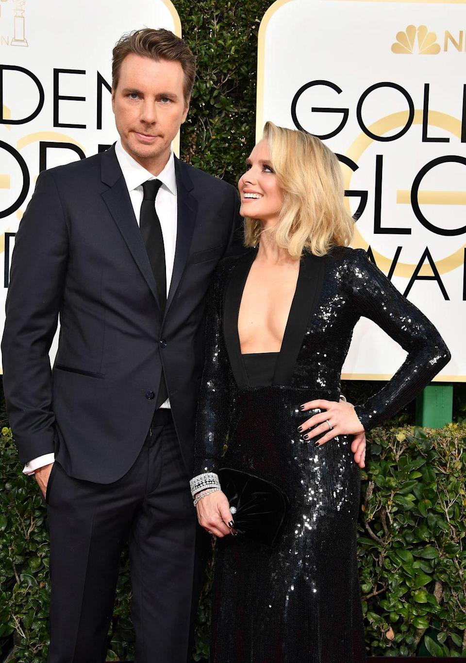 """<p>Dax Shepard and Kristen Bell aired for the unconventional when they decided to get married in 2013. They traded in a dreamy wedding venue for a <a href=""""https://www.instagram.com/p/BPvaIYdDejF/?"""" rel=""""nofollow noopener"""" target=""""_blank"""" data-ylk=""""slk:courthouse ceremony"""" class=""""link rapid-noclick-resp"""">courthouse ceremony</a> and Kristen wore a black jumpsuit and statement necklace rather than a white dress.</p>"""