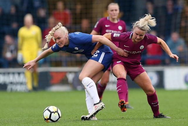 Soccer Football - Women's FA Cup Semi Final - Chelsea vs Manchester City - The Cherry Red Records Stadium, London, Britain - April 15, 2018 Chelsea's Maria Thorisdottir in action with Manchester City's Isobel Christiansen Action Images/Peter Cziborra
