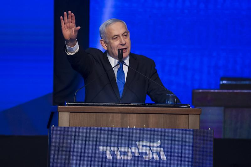Israeli Prime Minister Benjamin Netanyahu speaks at the Likud Party after vote event: Getty Images