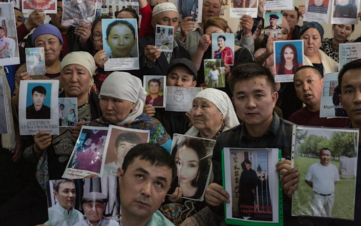 People who believe their families and relatives to be detained by Chinese authorities in internment camps Xinjiang Province gather in Almaty, Kazakhstan - Sam Tarling/Sam Tarling
