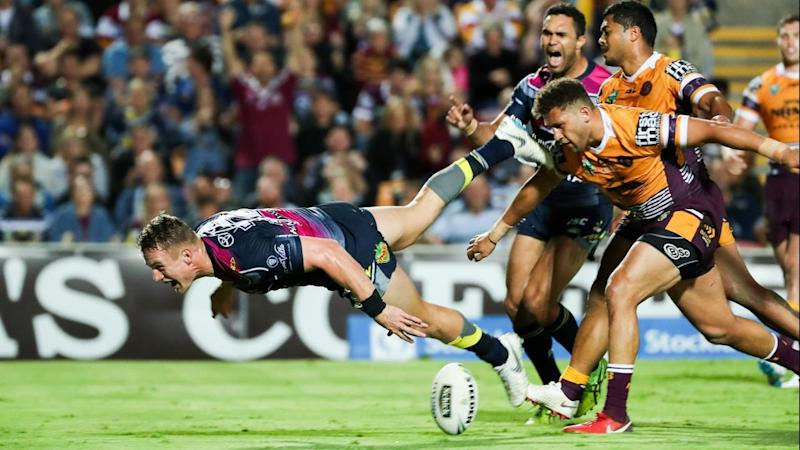 Coen Hess scored the winning try in North Queensland's 34-30 NRL win over the Broncos