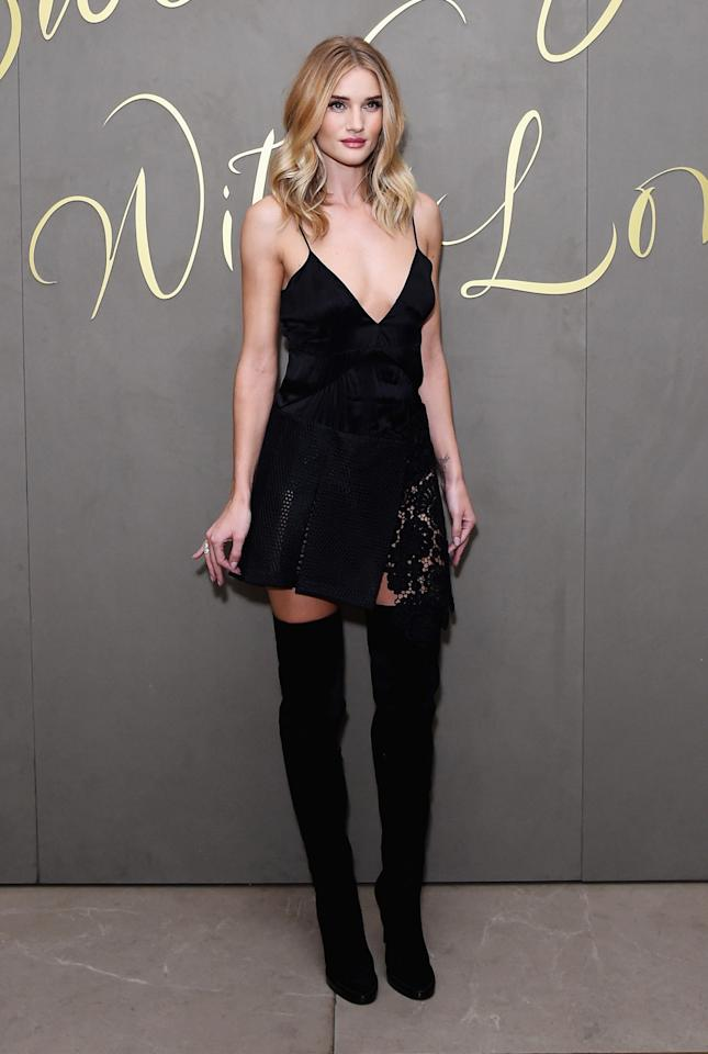 <p>If you are going to pair the boots with a sexy LBD, keep the hem close to the top of the boots for a more suggestive than statement look.</p><p>(Photo: Getty Images)</p>