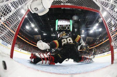 Jun 7, 2018; Las Vegas, NV, USA; Washington Capitals right wing Devante Smith-Pelly (not pictured) scores a goal past Vegas Golden Knights goaltender Marc-Andre Fleury (29) in the third period in game five of the 2018 Stanley Cup Final at T-Mobile Arena. Mandatory Credit: Harry How/Pool Photo via USA TODAY Sports - 10879746