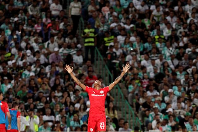 Football Soccer - Mexican First Division Final First Leg - Santos Laguna v Toluca - TSM Corona stadium, Torreon, Mexico May 17, 2018. Luis Quinones of Toluca celebrates his goal. REUTERS/Daniel Becerril