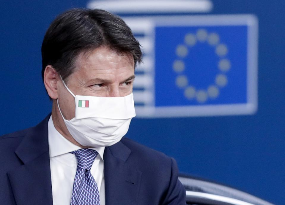 Italy's Prime Minister Giuseppe Conte arrives for day two of an EU summit in Brussels, Belgium October 16, 2020. Olivier Hoslet/Pool via REUTERS