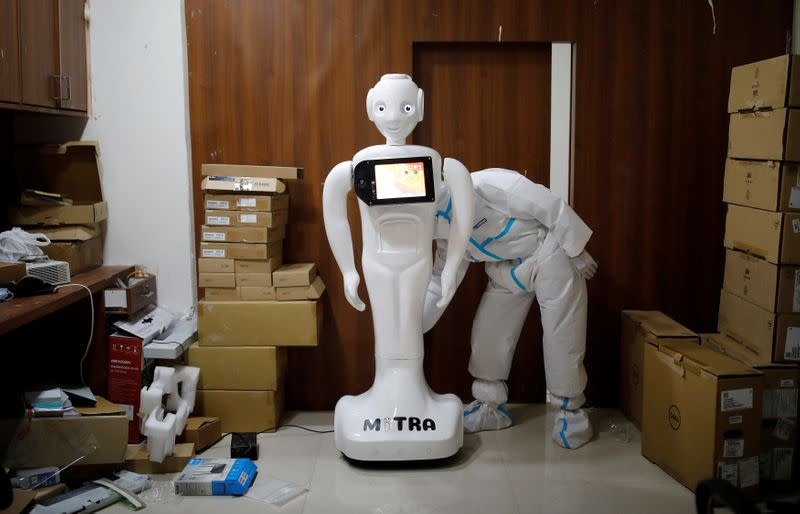 Mitra the robot helps COVID patients in India speak to loved ones
