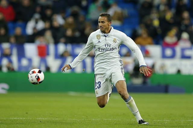 Real Madrid's Danilo controls the ball during a Copa del Rey, quarter final, 1st leg soccer match between Real Madrid and Celta at the Santiago Bernabeu stadium in Madrid, Spain Wednesday Jan. 18, 2017. (AP Photo/Paul White)