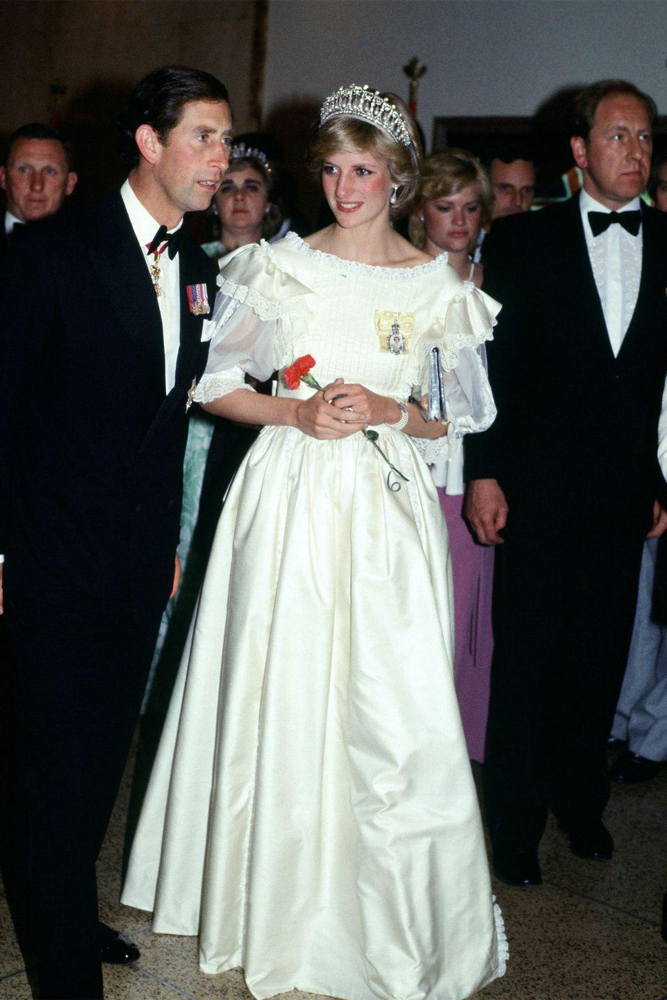 <p>In a white gown by Gina Fratini during the Royal Tour of Canada. </p>
