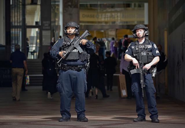 "<p>A New York Police Department anti-terror unit guard an entry area to Madison Square Garden, Tuesday May 23, 2017, in New York. The NYPD says it has tightened security at high-profile locations ""out of an abundance of caution"" following the deadly explosion in Manchester, England.(AP Photo/Bebeto Matthews) </p>"