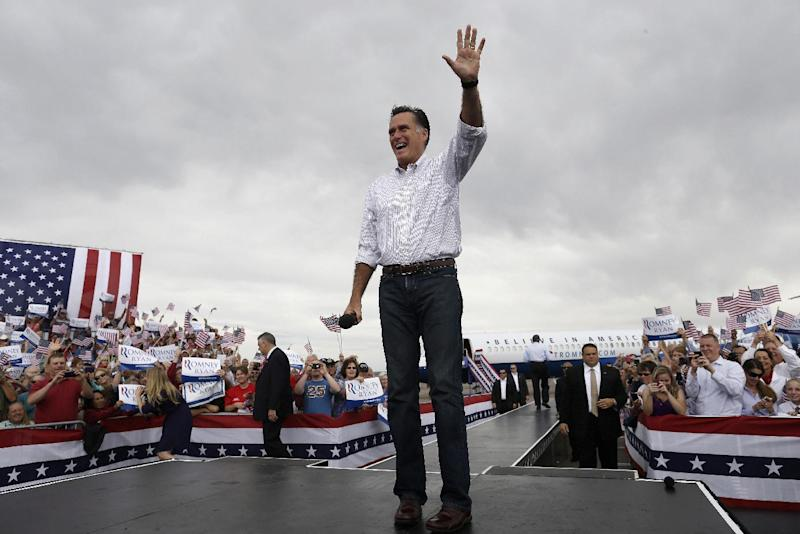 Republican presidential candidate, former Massachusetts Gov. Mitt Romney campaigns in Pueblo, Colo., Monday, Sept. 24, 2012. (AP Photo/Charles Dharapak)