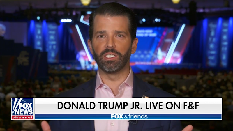 "Donald Trump Jr. appears on ""Fox & Friends"" Friday. (Screengrab via Fox News)"