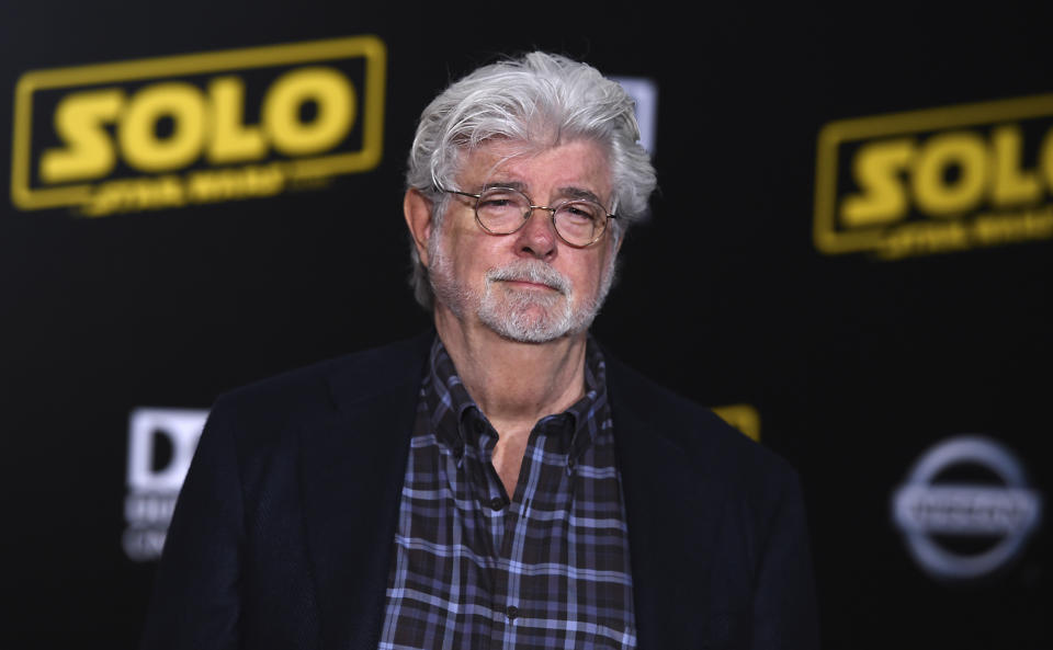 """George Lucas arrives at the premiere of """"Solo: A Star Wars Story"""" at El Capitan Theatre on Thursday, May 10, 2018, in Los Angeles. (Photo by Jordan Strauss/Invision/AP)"""