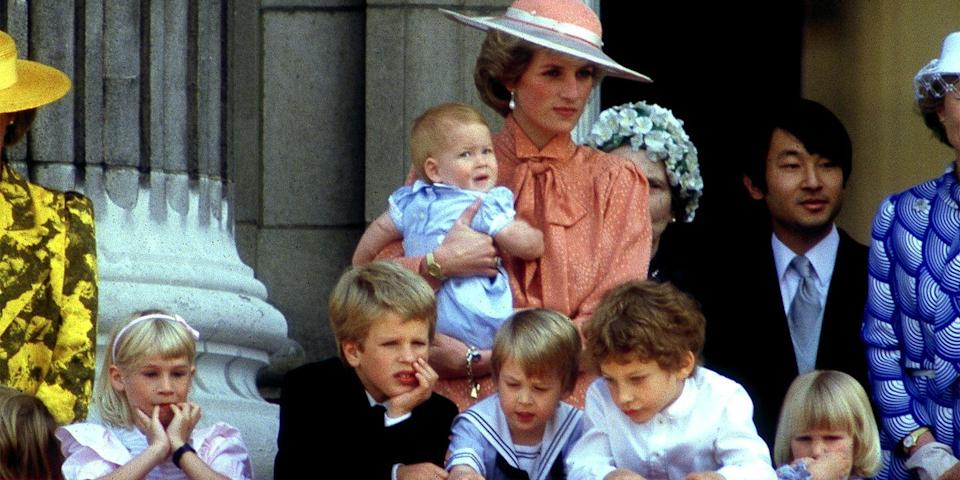 <p>Watching the Trooping of the Colour from the balcony of Buckingham Palace.</p>