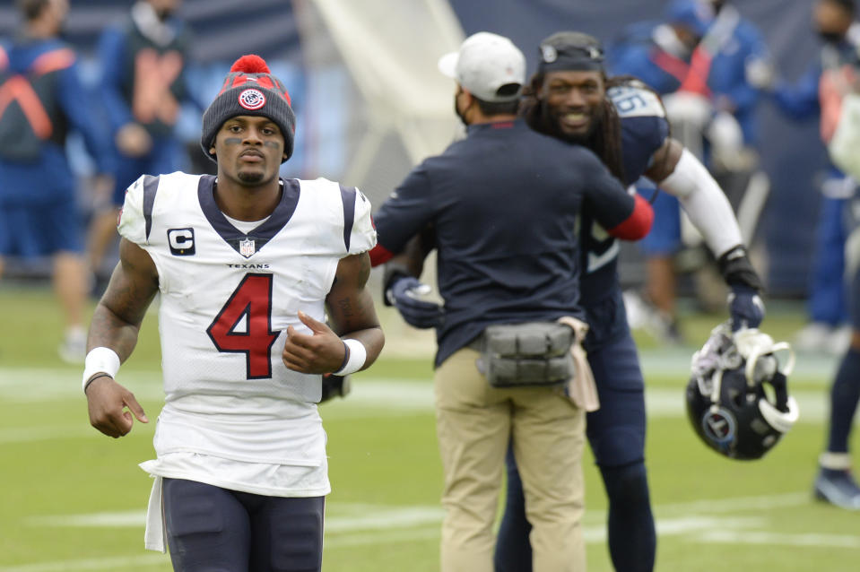 Houston Texans quarterback Deshaun Watson and his team lost to the Titans in overtime. (AP Photo/Mark Zaleski)