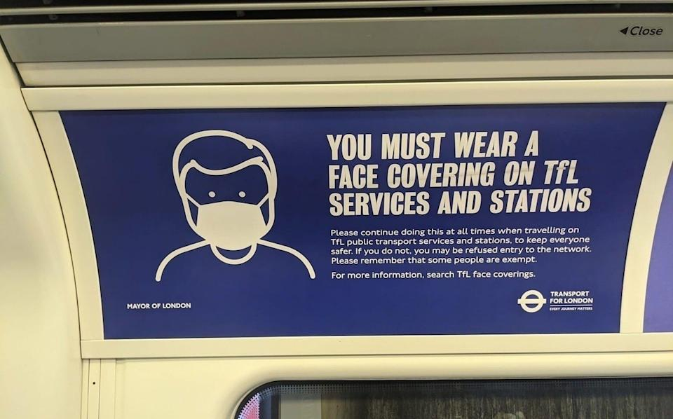 TfL mask-wearing guidance on public transport in the capital