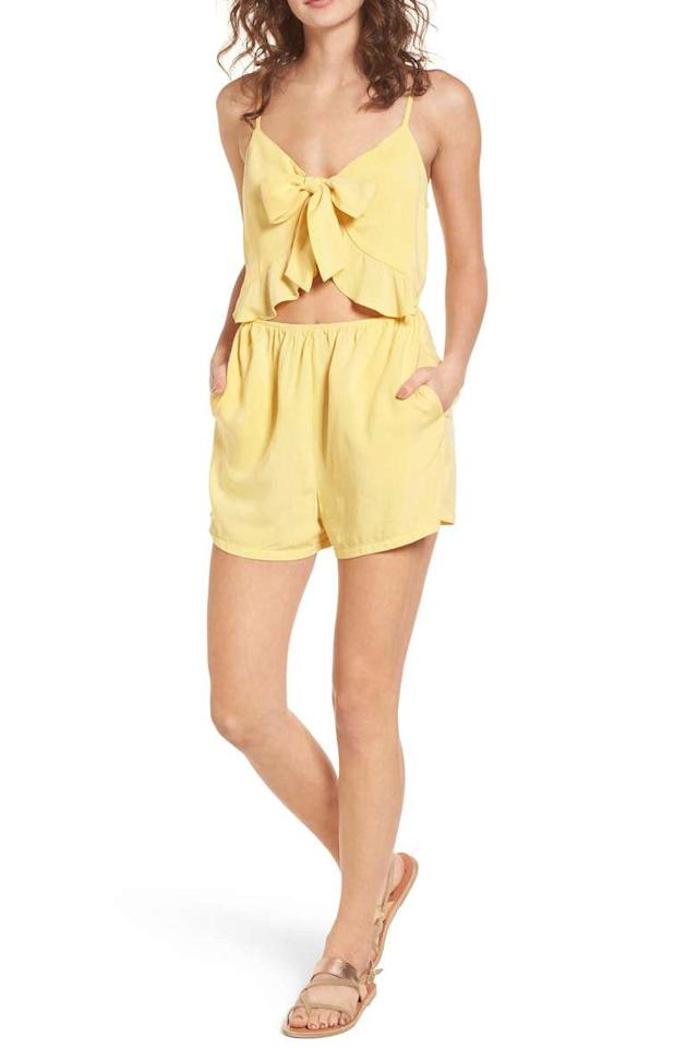 "<p>$39</p><p><a rel=""nofollow"" href=""https://shop.nordstrom.com/s/mimi-chica-tie-front-cutout-romper/4859901"">SHOP NOW</a><br></p><p>Cutouts aren't just for swimsuits. This cute ruffled romper is made for a relaxing day out and about or spent at home reading on the patio.</p>"