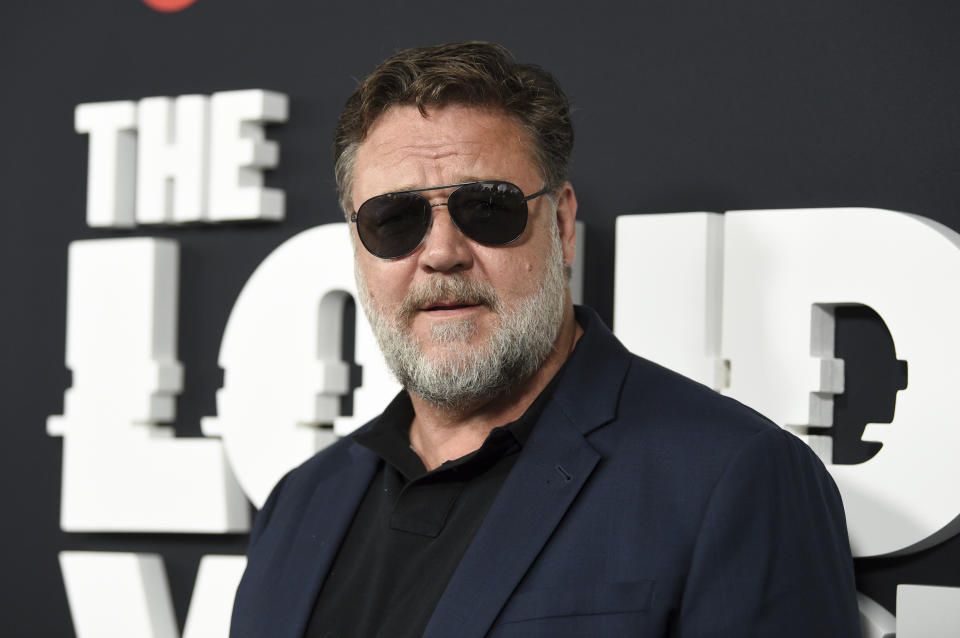 "Actor Russell Crowe attends the premiere of the ShowTime limited series ""The Loudest Voice,"" at the Paris Theatre, Monday, June 24, 2019, in New York. (Photo by Evan Agostini/Invision/AP)"