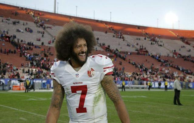 Colin Kaepernick was voted the winner of a prestigious award from his 49ers teammates. (AP)