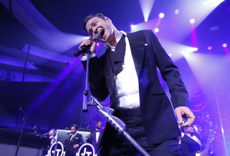 Justin Timberlake performs at his Post Grammy Concert at the Palladium, Sunday, Feb. 10, 2013, in Los Angeles. (Photo by Todd Williamson/Invision/AP)