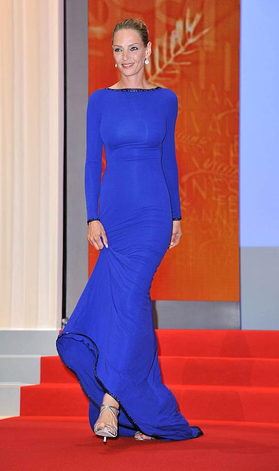 "A few days later, Uma took my breath away for a second time as she sauntered down the steps at the Closing Ceremony of the 64th Cannes Film Festival in an electric blue Armani Prive gown, silver heels, and sleek updo. Pascal Le Segretain/<a href=""http://www.gettyimages.com/"" target=""new"">GettyImages.com</a> - May 22, 2011"