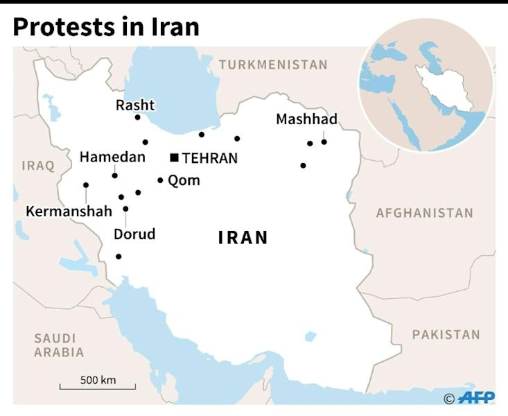 Map of Iran locating the main cities hit by of protests up until New Year's Eve
