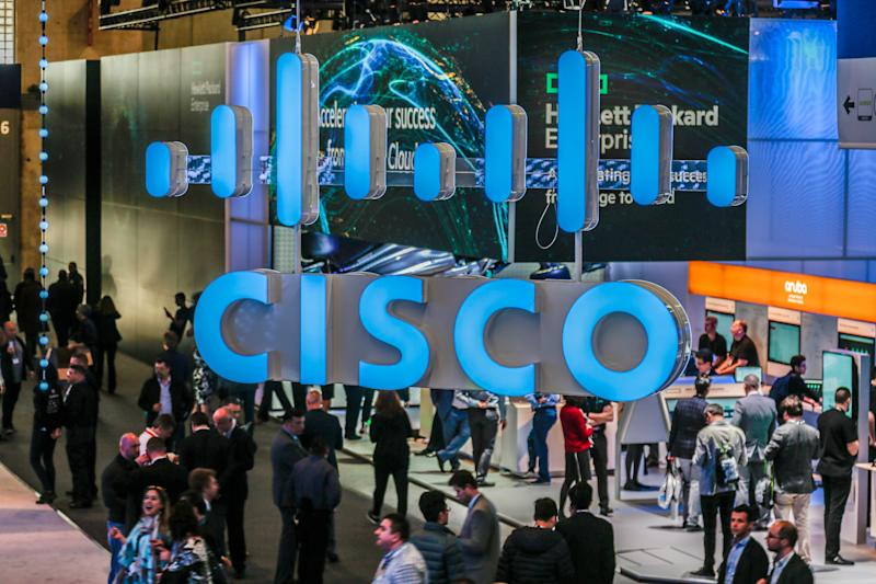 BARCELONA, SPAIN - FEBRUARY 26: CISCO logo is seen during GSMA MWC 2019. The MWC2019 Mobile World Congress on February 26, 2019 in Barcelona, Spain. (Photo by Miquel Benitez/Getty Images)