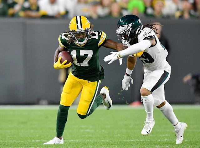Packers receiver Davante Adams hauled in a career-high 180 yards on Thursday despite missing the last 10 minutes of the game. (Quinn Harris/Getty Images)