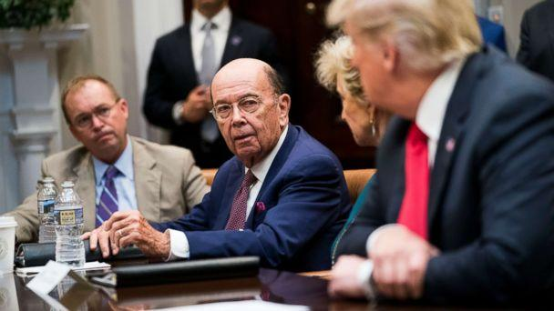 PHOTO: Commerce Secretary Wilbur Ross speaks to President Donald Trump during the first meeting of the President's National Council for the American Worker at the White House in Washington, Sept. 17, 2018. (Doug Mills/The New York Times via Redux)