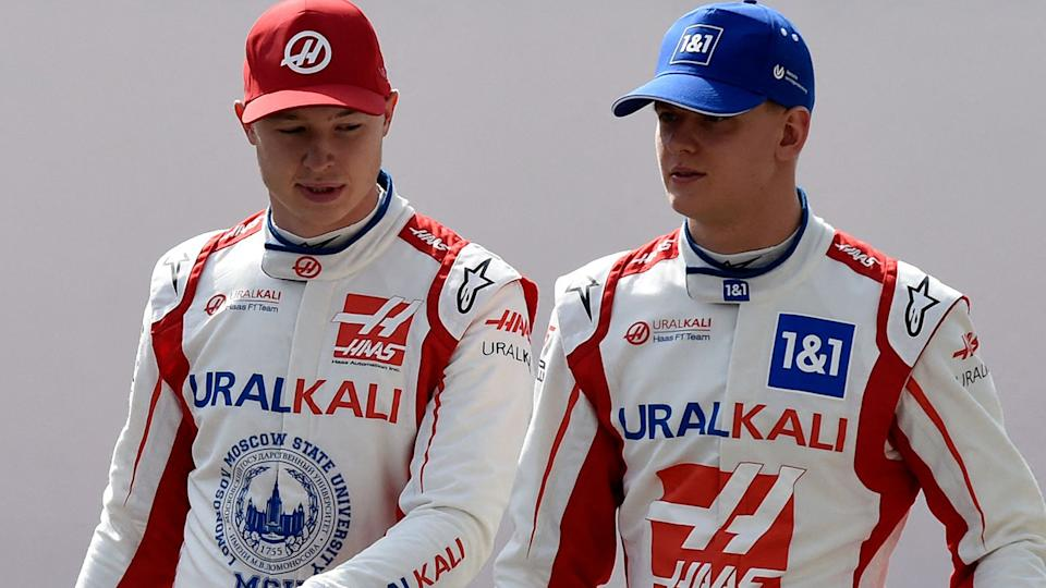 Nikita Mazepin and Mick Schumacher will form an all-rookie driver line-up for Haas this F1 season. (Photo by Mazen MAHDI / AFP) (Photo by MAZEN MAHDI/AFP via Getty Images)