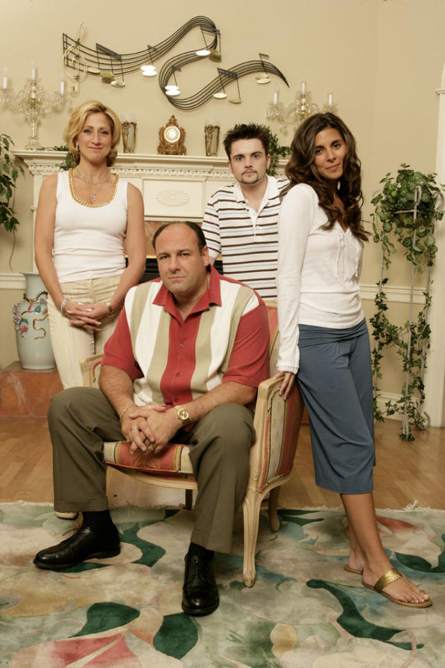 "Edie Falco, James Gandolfini, Robert Iler, and Jamie-Lynn Sigler in HBO's ""The Sopranos."""