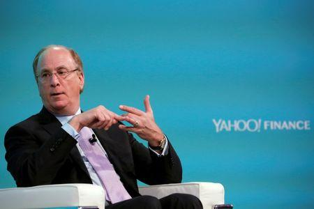 FILE PHOTO - Larry Fink, Chief Executive Officer of BlackRock, takes part in the Yahoo Finance All Markets Summit in New York