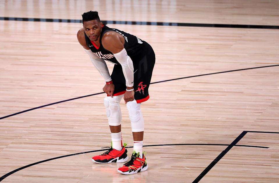 LAKE BUENA VISTA, FLORIDA - SEPTEMBER 12: Russell Westbrook #0 of the Houston Rockets during the fourth quarter against the Los Angeles Lakers in Game Five of the Western Conference Second Round during the 2020 NBA Playoffs at AdventHealth Arena at the ESPN Wide World Of Sports Complex on September 12, 2020 in Lake Buena Vista, Florida. NOTE TO USER: User expressly acknowledges and agrees that, by downloading and or using this photograph, User is consenting to the terms and conditions of the Getty Images License Agreement. (Photo by Michael Reaves/Getty Images)