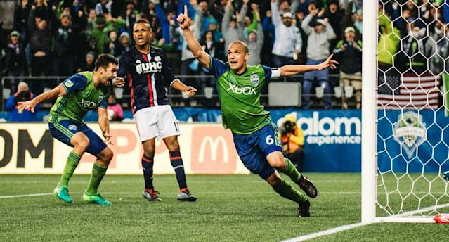 Ozzie Alonso capped Seattle's late comeback against the Revs. (@SoundersFC)