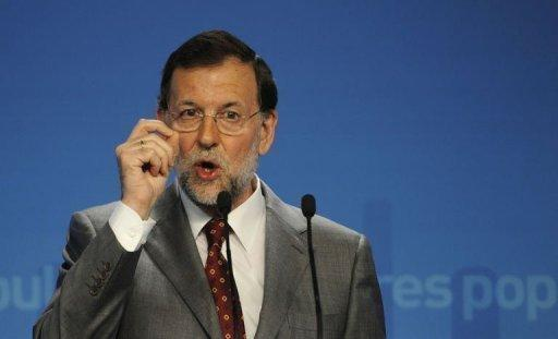 Spanish Prime Minister Mariano Rajoy during a press conference in Madrid. Prime Minister Mariano Rajoy admitted Monday that Spain is struggling to raise money on the debt market but insisted the nation's banks have no need of a European bailout