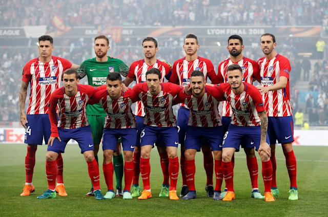 Soccer Football - Europa League Final - Olympique de Marseille vs Atletico Madrid - Groupama Stadium, Lyon, France - May 16, 2018 Atletico Madrid players pose for a team group photo before the match REUTERS/Christian Hartmann