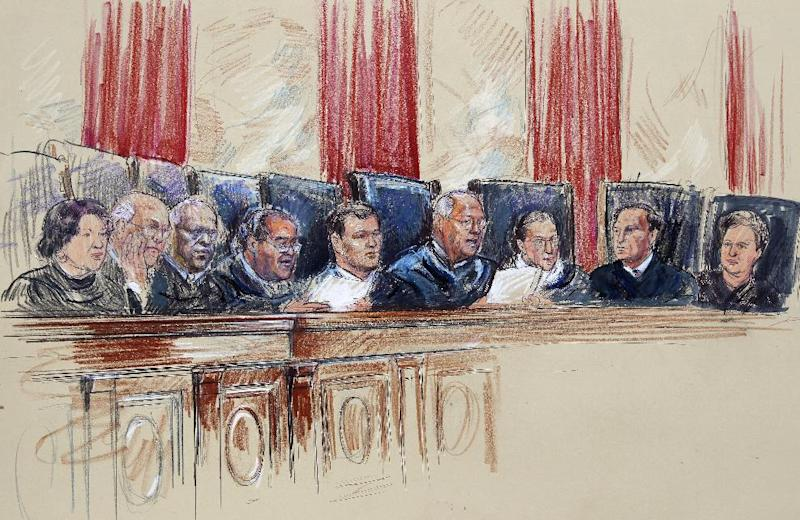 This artist rendering shows Supreme Court Justices from left, Sonia Sotomayor, Stephen Breyer, Clarence Thomas, Antonin Scalia, Chief Justice John Roberts, Anthony Kennedy, Ruth Bader Ginsburg, Samuel A. Alito, and Elena Kagan inside Supreme Court in Washington, Monday, June 25, 2012. (AP Photo/Dana Verkouteren)